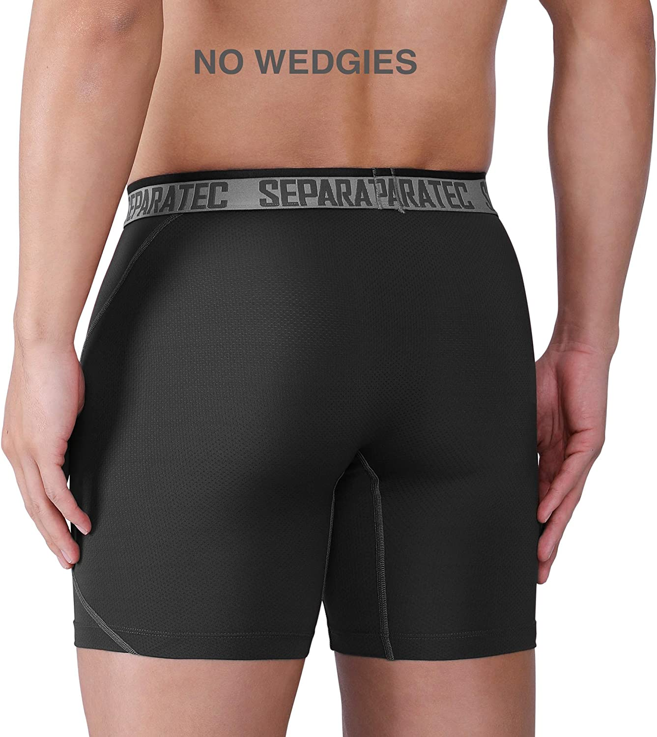 Separatec Mens Performance Sports Underwear 3 Pack Quick Dry Sports Boxer Shorts with Separate Pouches and Fly Breathable Boxers Briefs