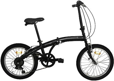 Bicicleta plegable C-Fold de acero de 20 pulgadas, cambio SHIMANO 6 V, Negro/Gris: Amazon.es: Deportes y aire libre