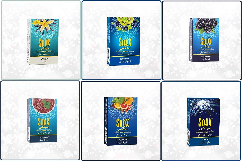 Lote de 6 sabores de Soex Vainilla Berry Blast Mora Chocolate con Menta Azul Extremo Cielo Azul Melaza de Shisha a base de hierbas para fumar una pipa de agua Cachimba Narguila Sin nicotina Sin tabaco