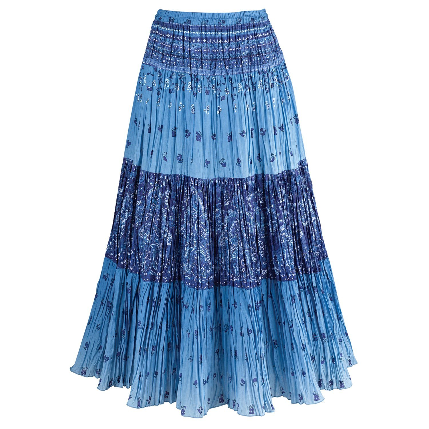 CATALOG CLASSICS Women's Sky Blue Maxi Skirt - Peasant Crinkle Broom Style Skirt - 2X by CATALOG CLASSICS