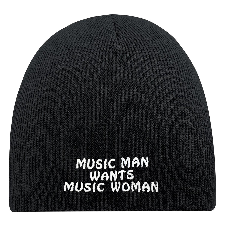 Fan-O-Menal Beanie Mütze mit Einstickung - Music man wants Music woman- 54852 schwarz- Skimütze Strickmütze Wollmütze
