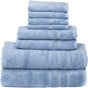MOSOBAM 700 GSM Luxury Bamboo 8pc Large Oversized Bathroom Set, Allure Blue, 2 Bath Towels 30X58 2 Hand Towels 16X30 4 Face Washcloths (Wash Cloth) 13X13, Bulk Clearance Prime Turkish Towel Sets