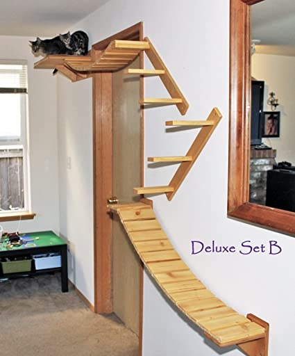 Cat Tree Modular Wall Mounted Climbing Furniture Shelves, Bridges And  Perches Deluxe Set B (