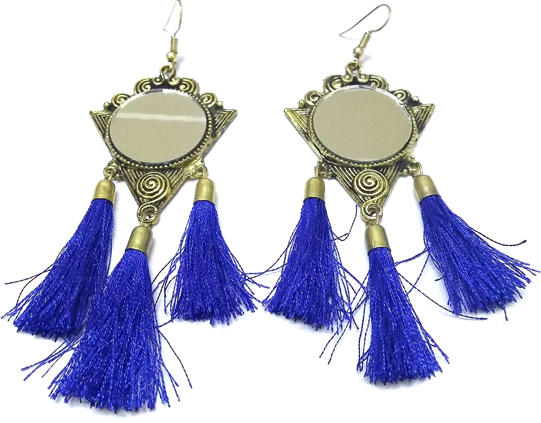 DESI HAWKER Golden Oxidized Earring Bali Jhumki Jhumka Jewelry Bollywood Drop Dangle Hook Tassels Mirror NI-102