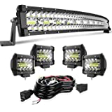 """TURBO SII DOT 32/30 Inch Curved Tri Row Led Light Bar Offroad Spot Flood Combo Beam w/4"""" Pods Cube Driving Fog lights On Bump"""