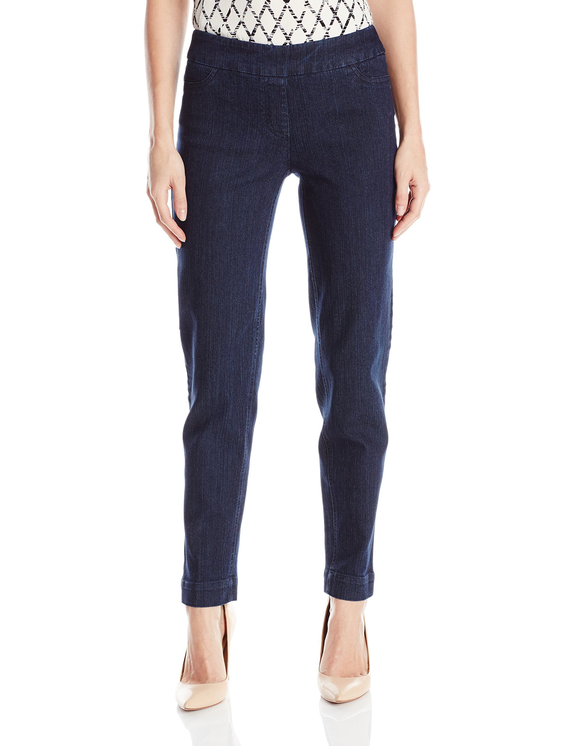 SLIM-SATION Women's Wide Band Pull On Straight Leg Ankle Pant with Tummy Control, Denim, 18
