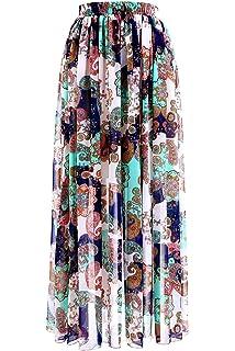 32265d369 Topdress Women's Floor Length Beach Skirt Floral Print Chiffon Maxi Skirts