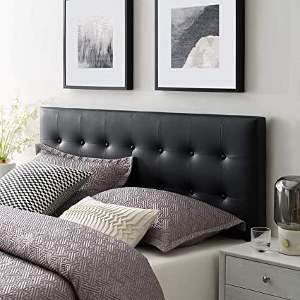 timeless design f69cd 384fb Modway Emily Tufted Button Faux Leather Upholstered Queen Headboard in Black