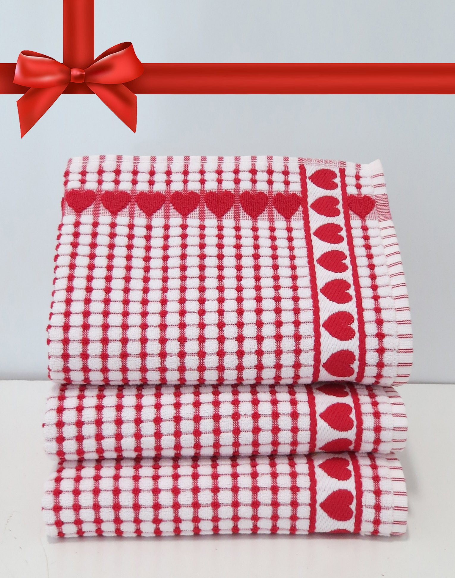 Kitchen Towels , Red Heart, Highly Absorbent, Low Lint, 100% Cotton Dish Towels, check print. Tea Towels, 19 x 31, Love Gift Towel. 3 Piece, Bleachable Towels from Roseberry Linen