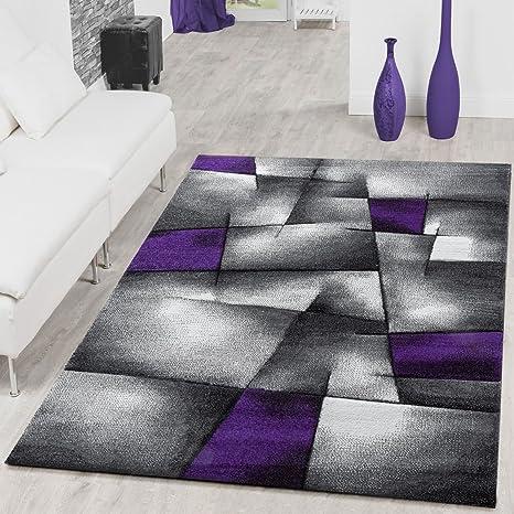 T&T Design Tapis de salon moderne à carreaux - Contours découpés -  Gris/violet, Polypropylène, gris, 120 x 170 cm