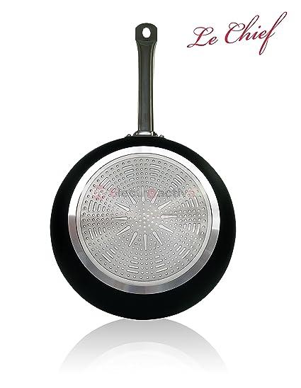Le Chief - Juego 3 Sartenes 20/24/30 cm, aluminio fundido antiadherente ecológico, inducción, mango profesinal acero inoxidable, apta lavavajillas: Le: ...