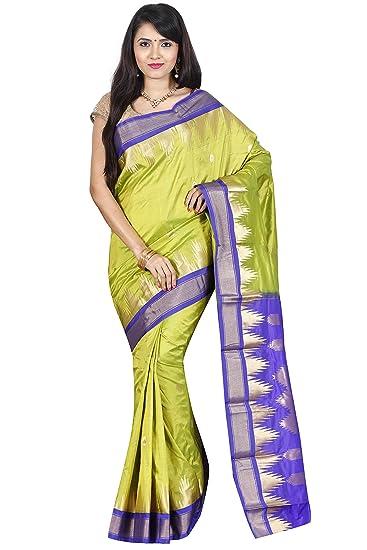 a35d98e278 Amazon.com: Indian Silks Temple Design Women's Kanjivaram Handloom ...