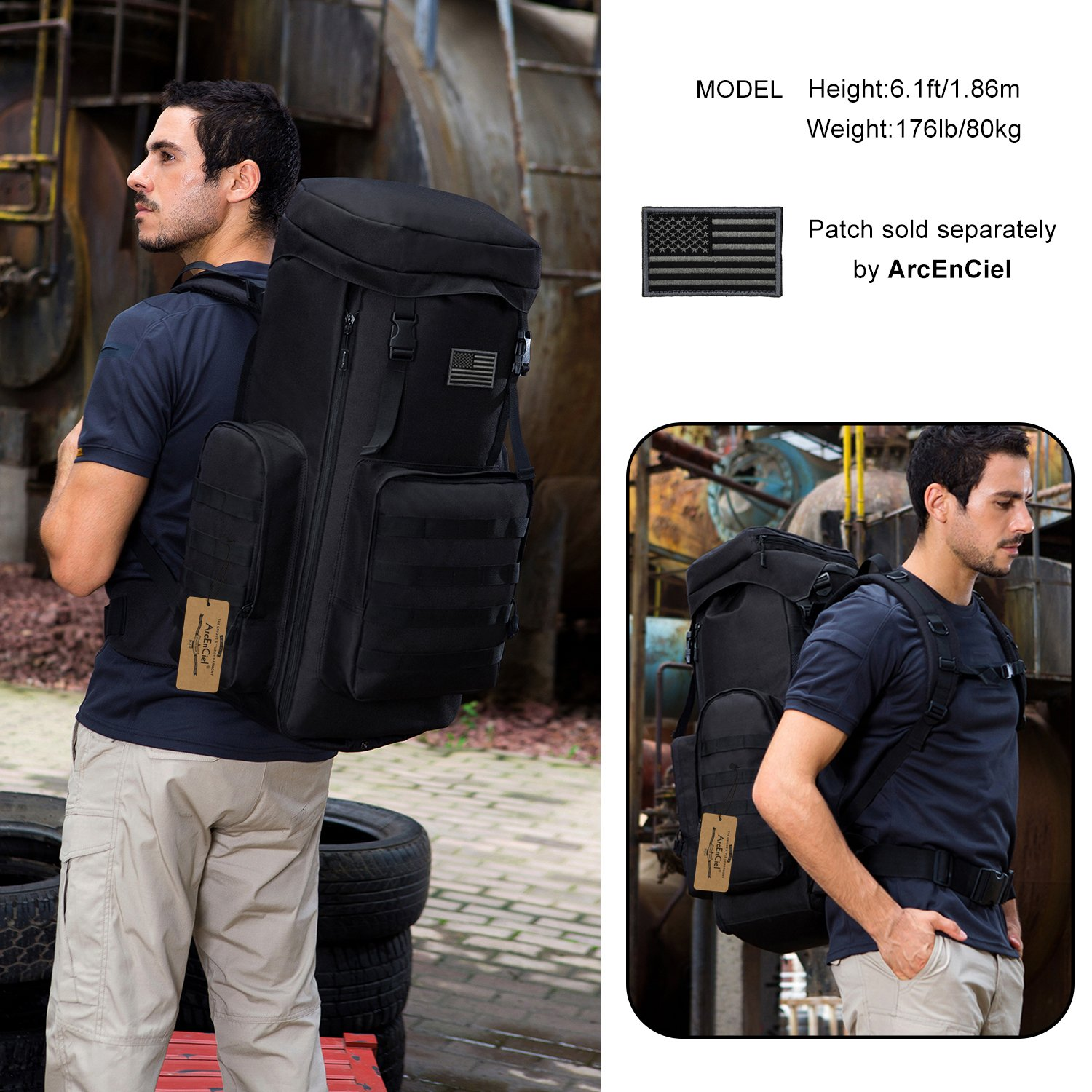ArcEnCiel 70-85L Large Capacity Tactical Travel Backpack MOLLE Rucksack Outdoor Travel Bag for Travelling Trekking Camping Hiking Hunting -Rain Cover Included (Black) by ArcEnCiel (Image #7)