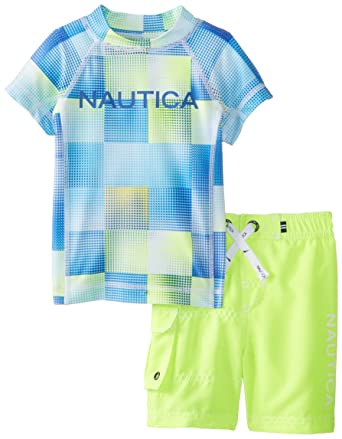 251f046543 Nautica Baby Boys' 2 piece Rashguard Swimwear Set, Neon Yellow, 12 Months
