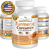 ★ Best EXTRA STRENGTH Turmeric Curcumin with BioPerine Black Pepper Extract 100% Natural Turmeric Root Powder Supplement For Inflammation Joint Pain Relief 90 Tumeric And Black Pepper Capsules