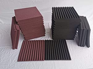 "52 Pack 1"" x 12"" x 12"" Black/brown Wedge Studio Foam Sound Absorption Wall Panels (black/purple) made in China"