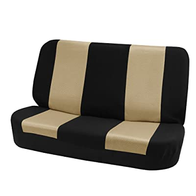 FH Group FB102010 Classic Cloth Seat Covers (Beige) Rear Set – Universal Fit for Cars Trucks & SUVs: Automotive