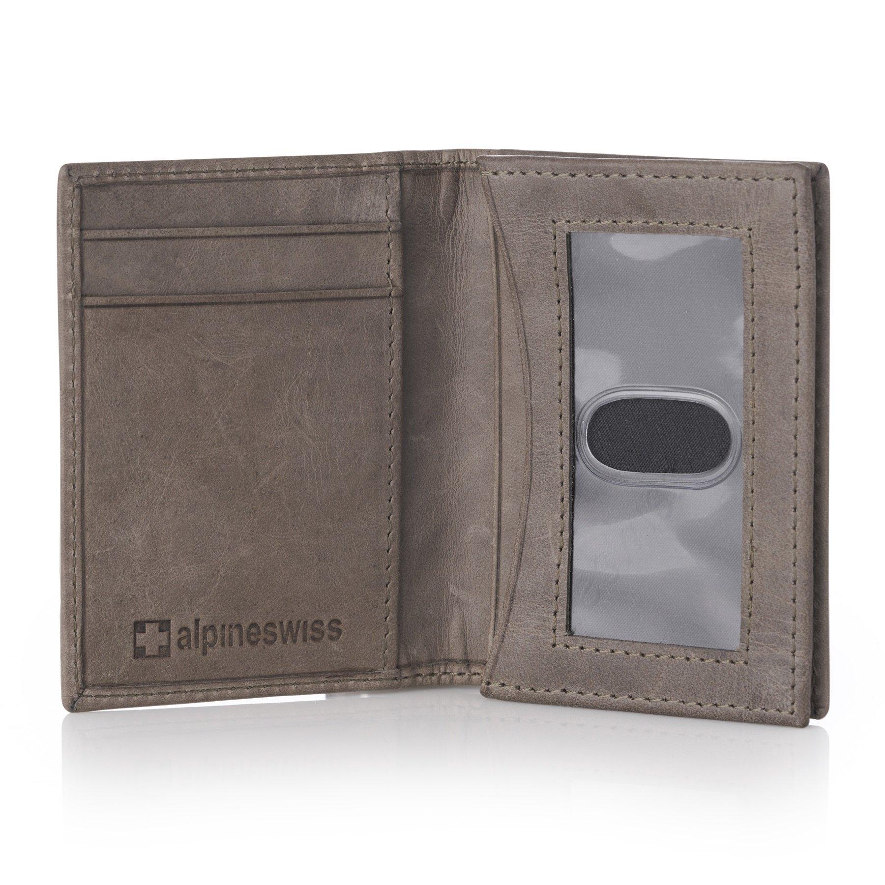 Alpine Swiss RFID Business Card Case ID Wallet Gray