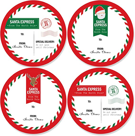 Amazon Com Big Dot Of Happiness Santa S Special Delivery Large Christmas Sticker Gift Tags From Santa Stickers Gift Stickers Set Of 8 Office Products