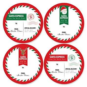 image about Free Printable North Pole Special Delivery Printable referred to as Santas Exclusive Shipping and delivery - High Sticker Xmas Present Tags - towards Santa Stickers Reward Stickers - Fixed of 8