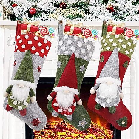 Big Size Santa Claus Snowman Reindeer Hanging Stockings Decoration Stockings 3 Pack 18 Inch Christmas Stockings