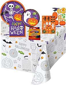 Halloween Themed Kids Coloring and Activity Party Supplies Serves 8 Guests Includes Plates, Napkins, Crayons, Stickers, and a Paper Activity Table Cover