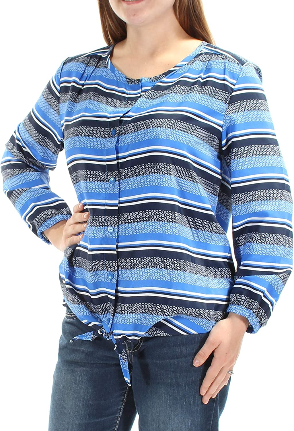 Tommy Hilfiger Womens Striped Tie-Sleeve Blouse