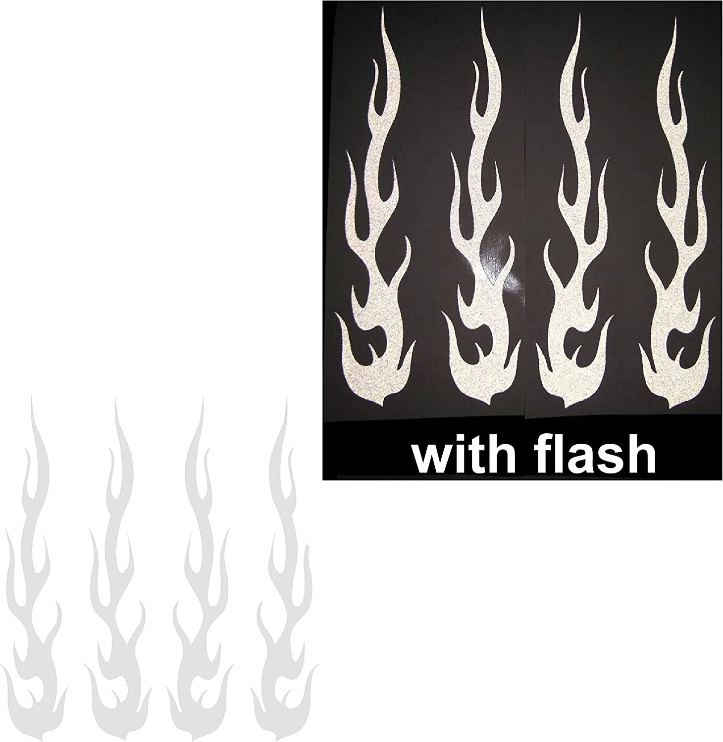 "White Hot Rod Fire Tribal Flame Ignite Flames Retro 3M Reflective Reflector Decal Sticker 1""x5"" Flash Night Vinyl PVC For Sport Motorbike Bike Motorcycle Bicycle Helmet Racing Car Door Window Tailgate Truck Trunk Side Rear Laptop Notebook Mac Decal Safety"