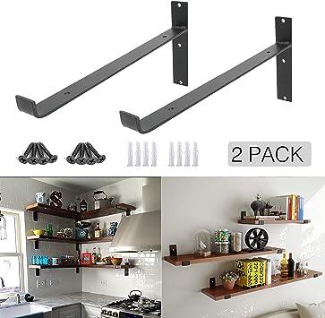 D x 1.50 in Shelf-Made Silverton Steel 10 in Decorative Shelf Bracket H Black 75lbs W x 8.313 in