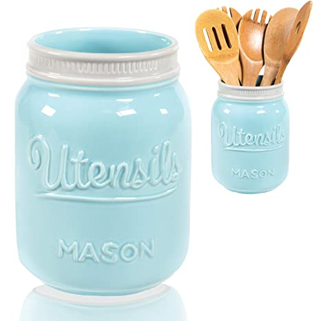 Wide Mouth Mason Utensil Holder - Large Ceramic Kitchen Utensil Holder -  Rustic Farmhouse Caddy Organizer For Cooking Utensils, Spatula, Accessories  - ...