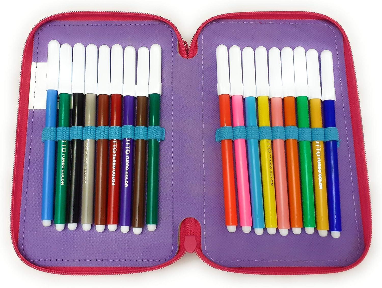 Astuccio Scuola 3 Zip Completo di 44 Pezzi Prodotto Ufficiale Rainbow Winx