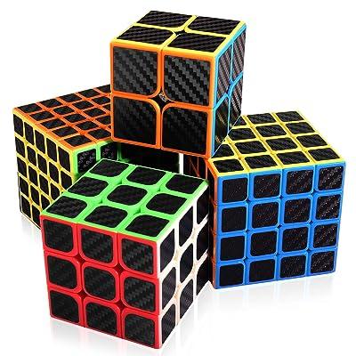 Abwei Cubo, Cubo Mágico Speed Cube Puzzle Pack 2x2 3x3 4x4 5x5 Adhesivo de Fibra de Carbono Cube para Juegos Rompecabezas y Regalo Festivo: Juguetes y juegos