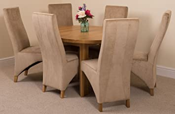 MODERN FURNITURE DIRECT Edmonton Extending Oval Solid Oak Dining Set Table And 6 Beige Fabric Chairs