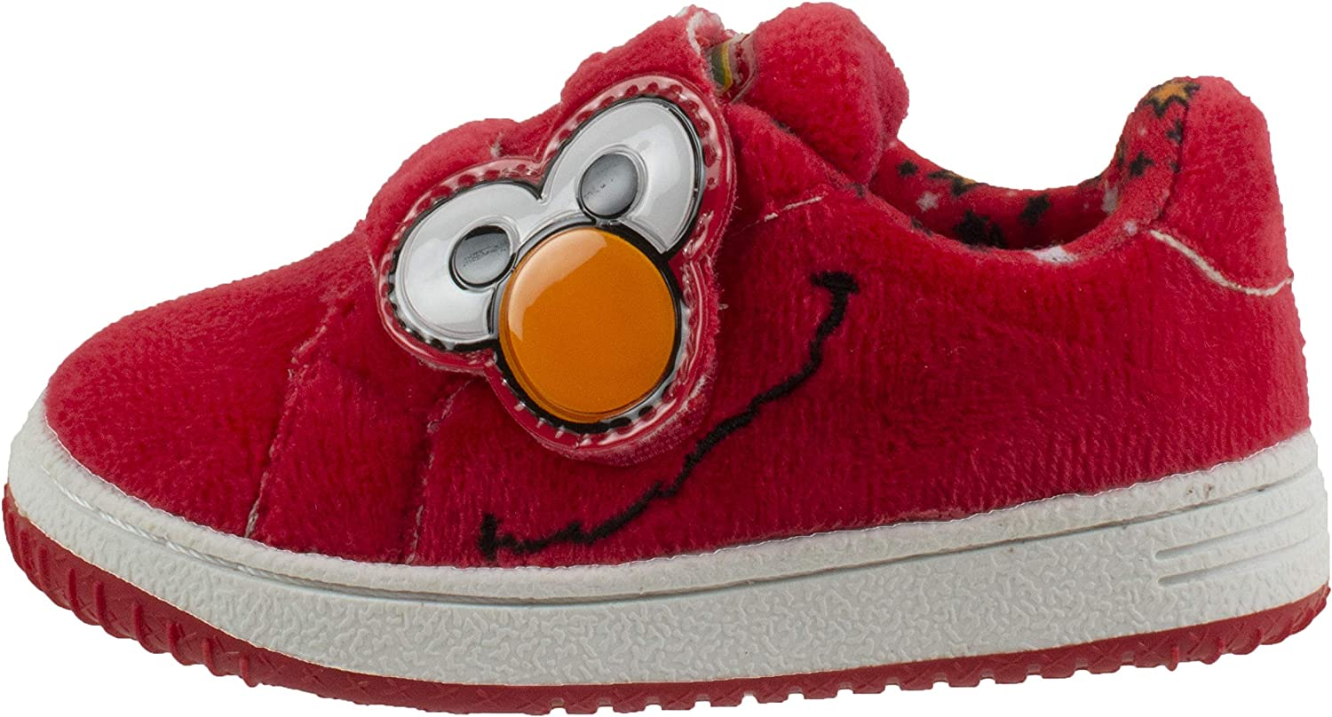 Sesame Street Elmo and Cookie Monster Baby Shoes with Strap, Hard Bottom, Infant & Toddler Size 3 to 8