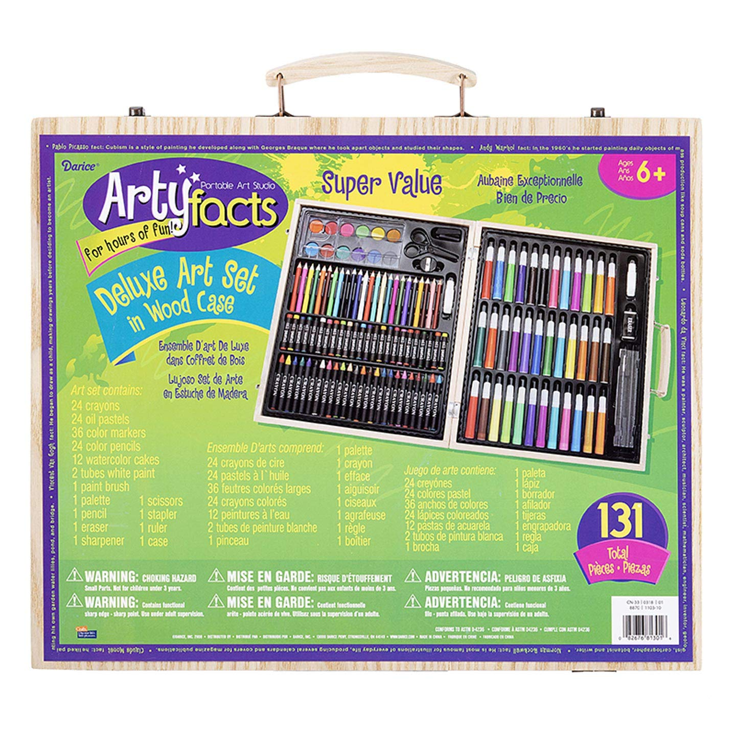 Darice (1103-10) 131-Piece Premium Art Set - Art Supplies for Drawing, Painting and More in a Wood Case - Makes a Great Gift for Children and Adults by Darice