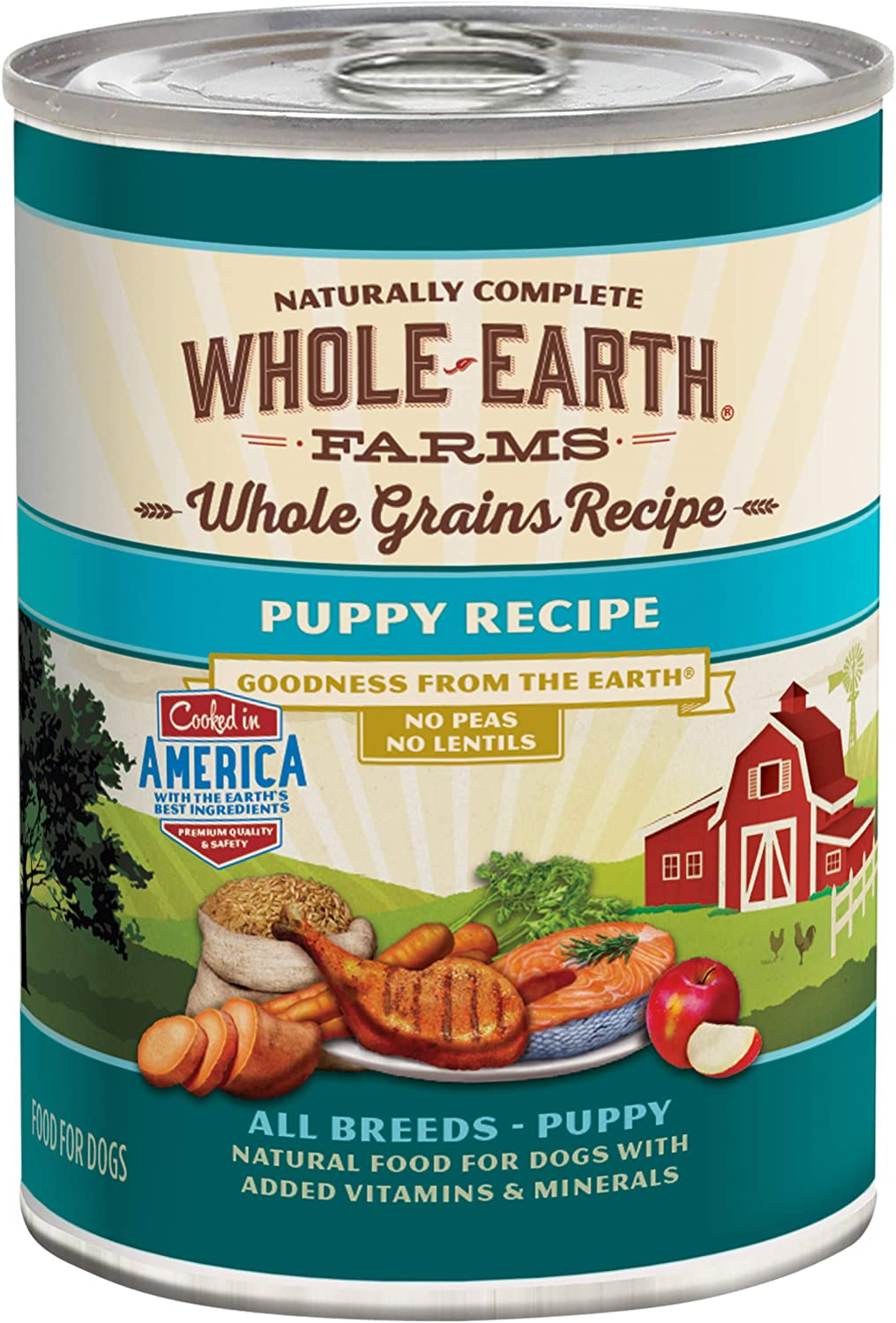 Whole Earth Farms Canned Wet Dog Food Puppy & Adult Whole Grains and Grain Free Recipe (Case of 12)