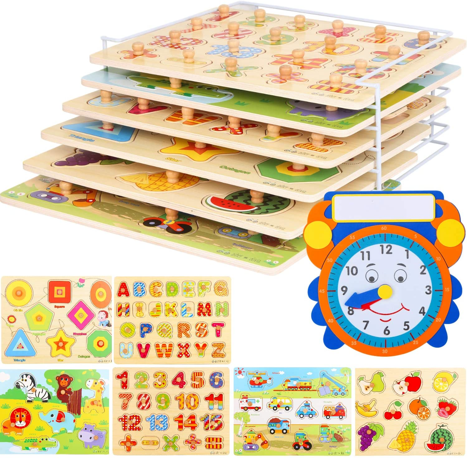 Wooden Toddler Puzzles and Rack Set - (6 Pack) Bundle with Storage Holder Rack and Learning Clock - Kids Educational Preschool Peg Puzzles for Children Babies Boys Girls - Alphabet Numbers Zoo Cars: Toys & Games
