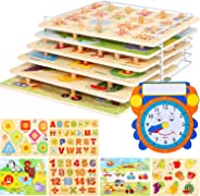 Wooden Toddler Puzzles and Rack Set - (6 Pack) Bundle with Storage Holder Rack and Learning Clock - Kids Educational Preesch