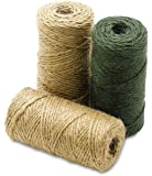 Heavy Duty All Natural Jute Twine Assorted - 3 Pack, Mix- Brown -Off White and Green- 443 Feet - For Industrial, Packaging, Arts & Crafts, Gifts, Decoration, Bundling, Gardening, And Home - By Kazco