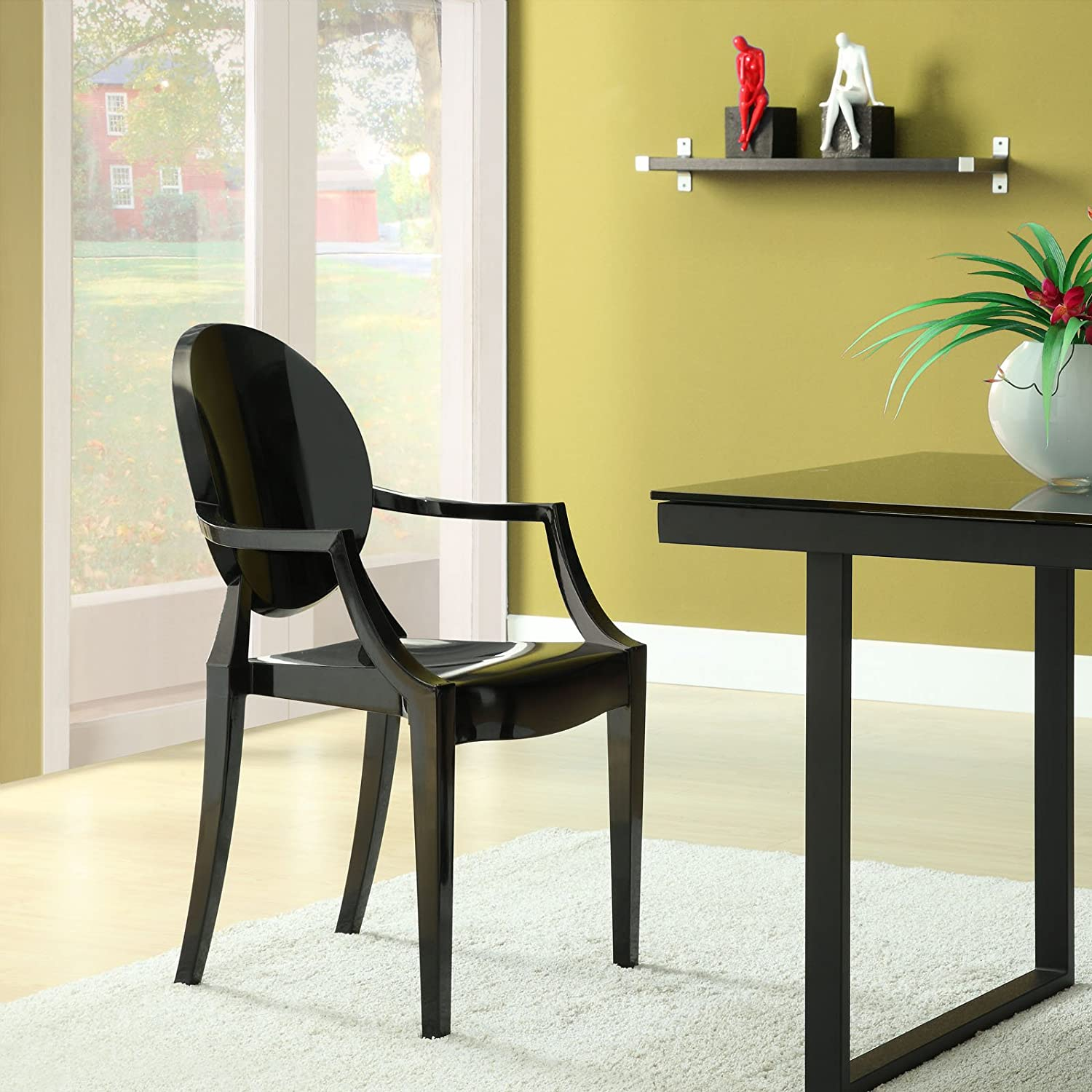 Amazon Modway Casper Modern Acrylic Dining Armchair in Black