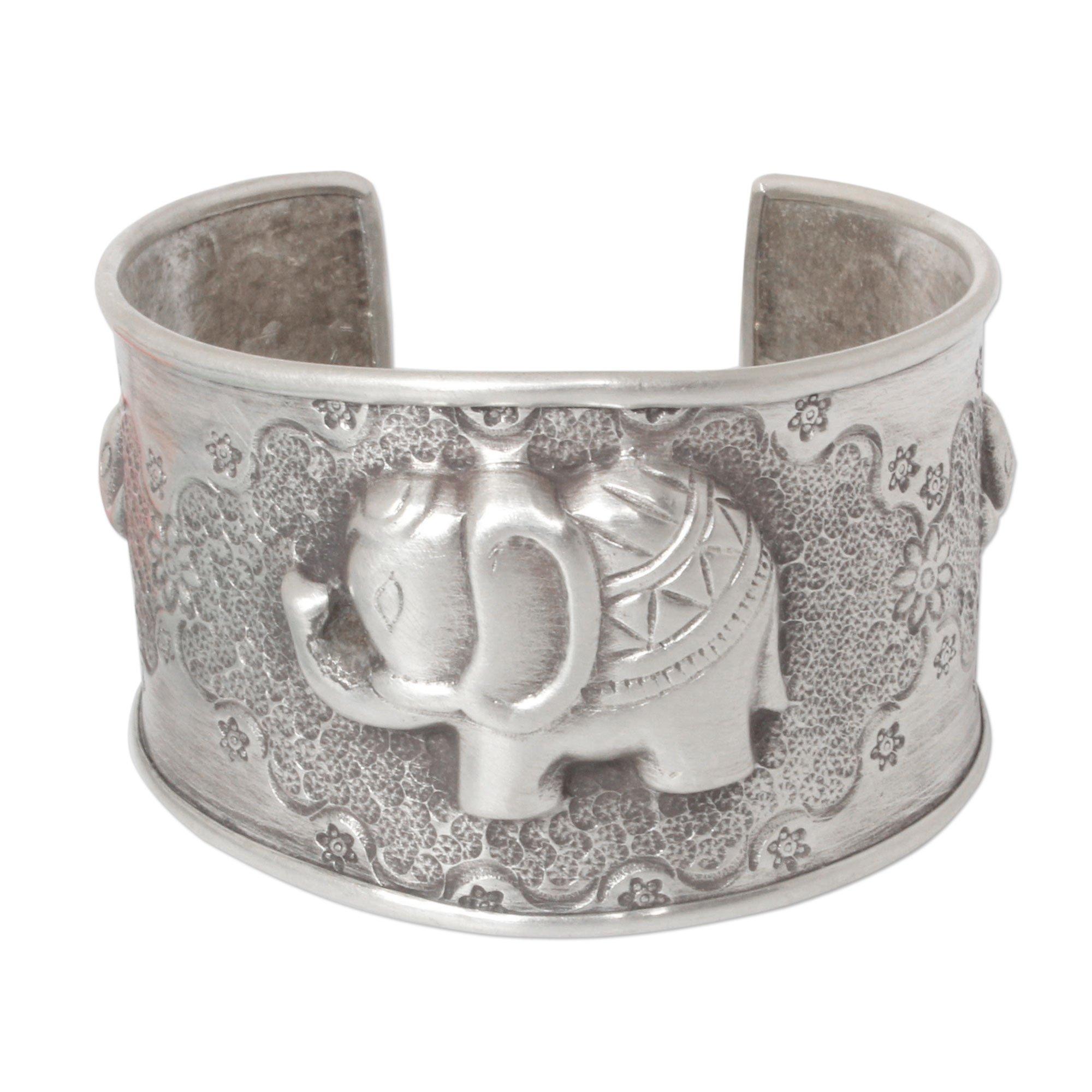 NOVICA .925 Sterling Silver Cuff Bracelet 'Hill Tribe Elephants'