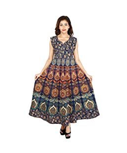 The Jaipur Bazar Women's Cotton Dress (Tjb-Ryndrs-2054_Multicolor_Free Size)
