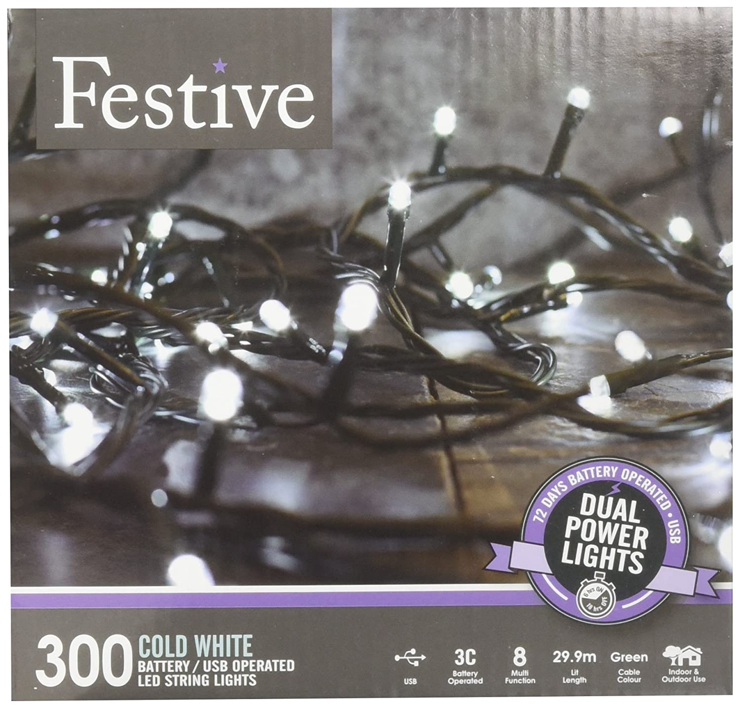 Festive Productions 300 Led Dual Power Lights White 9 W Amazonco Powering From Single Aa Cell Lighting