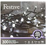 Amazon Price History for:Festive Christmas String Lights, Battery Operated Timer LED, White, 300 bulbs