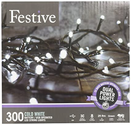 festive christmas string lights battery operated timer led white 300 bulbs