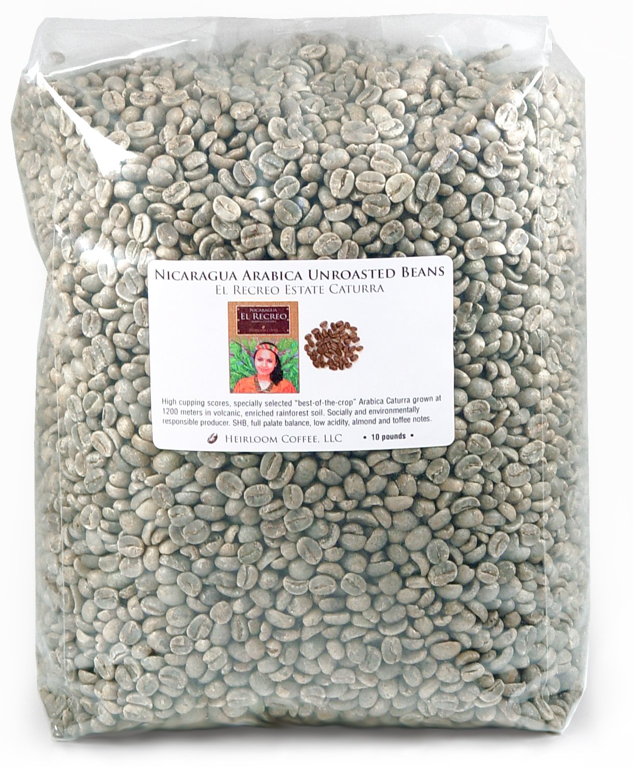 Nicaragua Arabica Unroasted Green Coffee Beans (10 LB) by Heirloom Coffee LLC