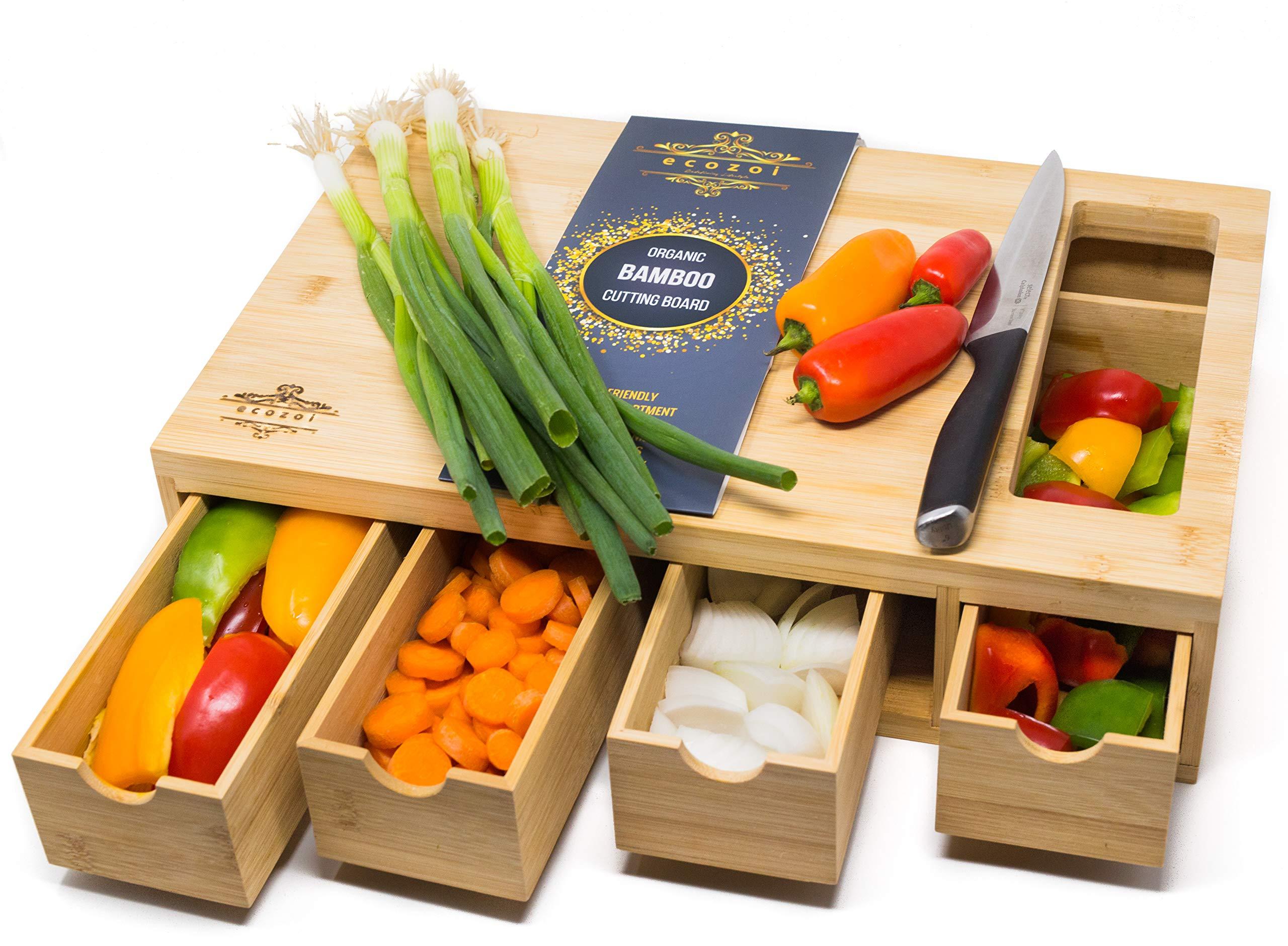 ecozoi EXTRA LARGE Bamboo Cutting Board with 4 Bamboo Drawer ORGANIZER TRAYS | Kitchen Cutting Boards, Chopping Boards, Butcher Block | ERGONOMIC Cutting Board with Storage