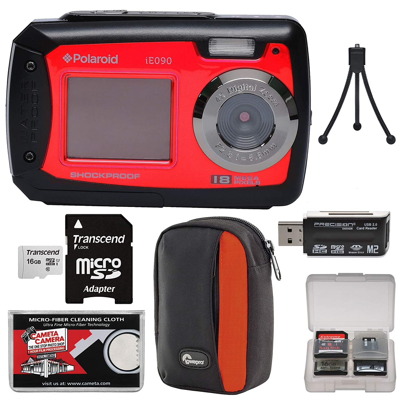 Polaroid ie090デュアル画面衝撃&防水デジタルカメラ(レッド) with 16 GBカード+ケース+三脚+リーダー+キット   B0722RMCJR