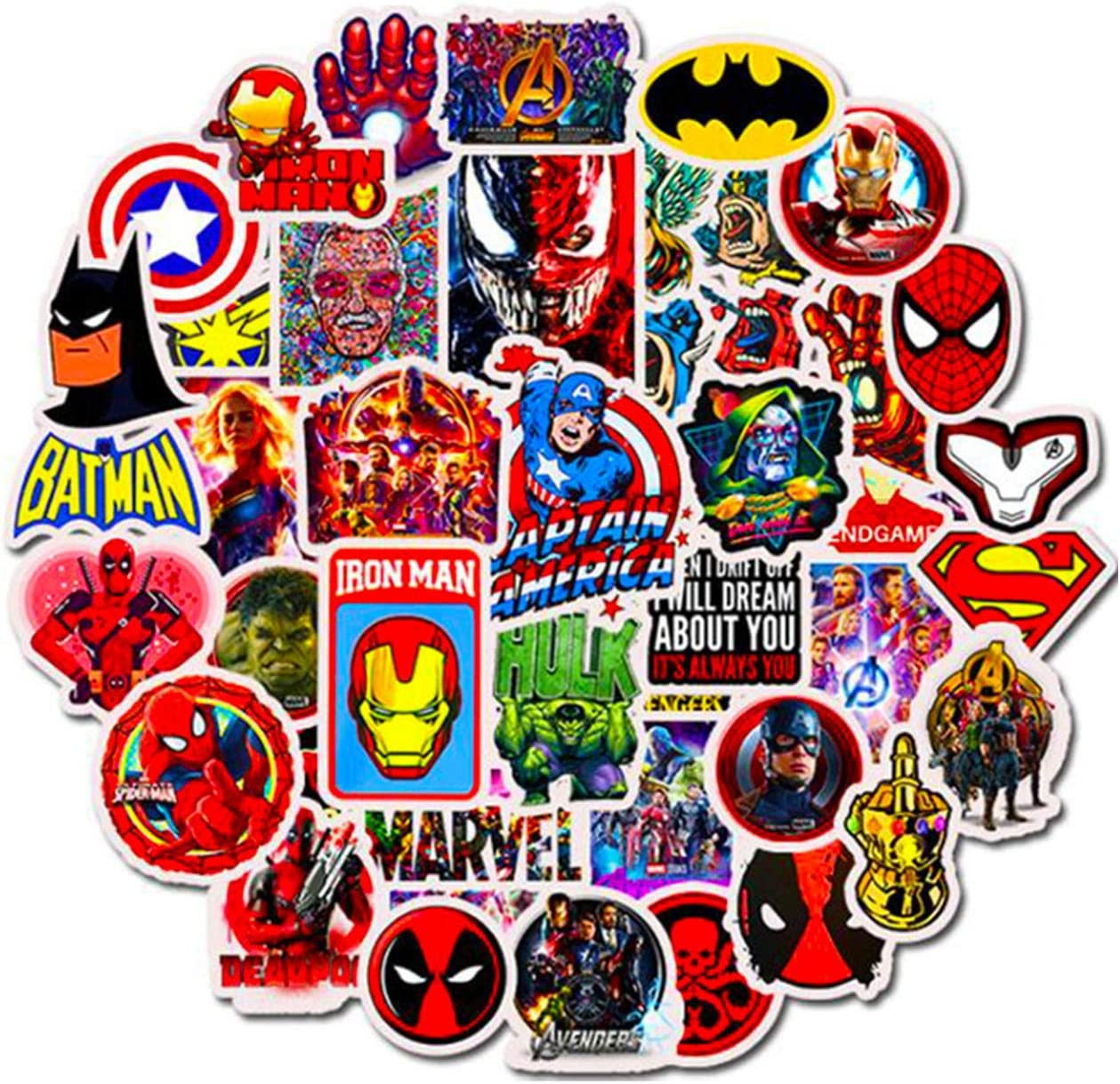 PAMITD 50PCS (Marvel DC) Superhero Stickers Hero Spider-Man Superman Iron Man Vinyl Laptop Decal Stickers Waterproof Vinyl Personalized Stickers for Computer, Trunk, Luggage Door Laptop Luggage