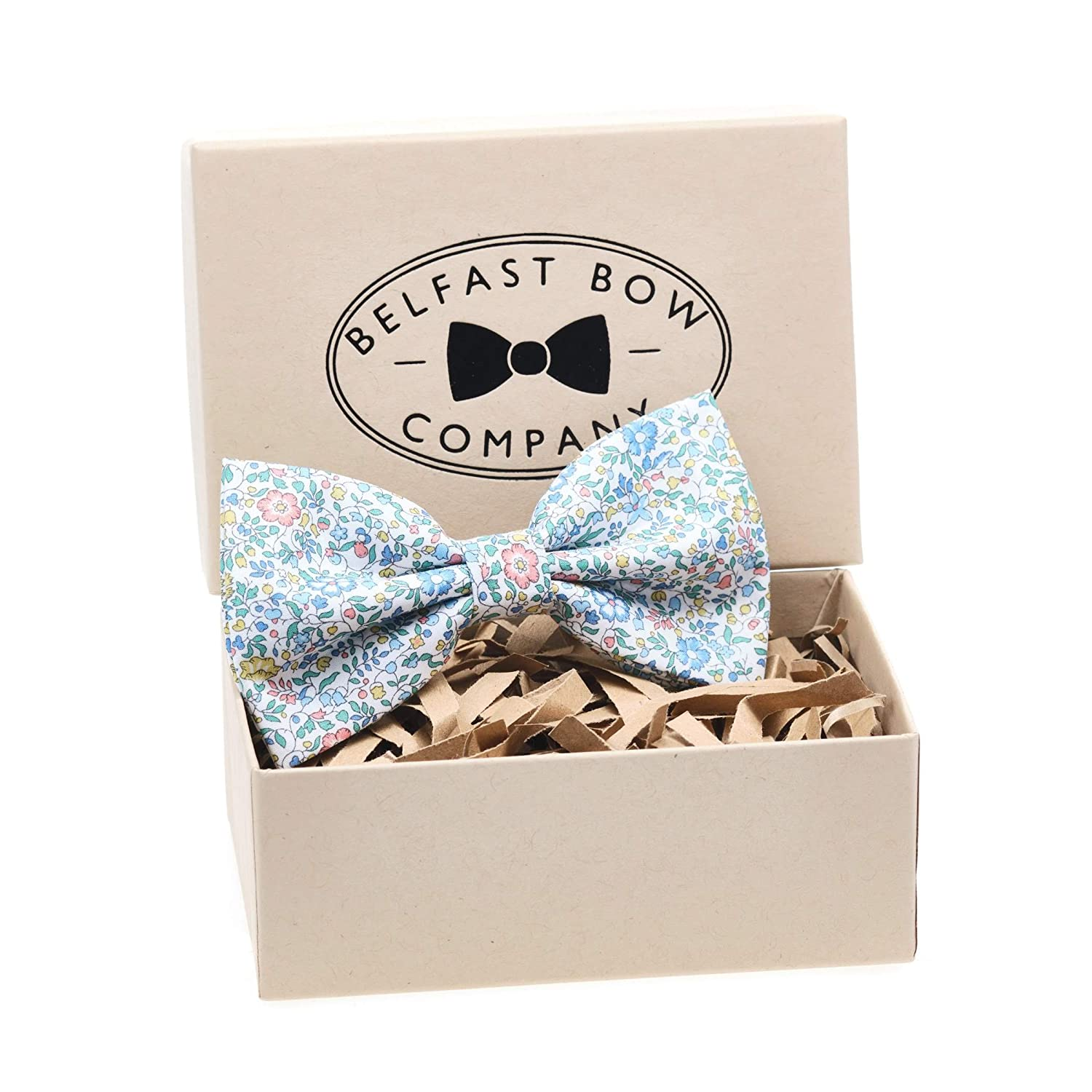 Handmade Linen Bow Tie in Grey Floral Gift Boxed Adult /& Junior sizes available